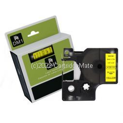 *Dymo SD43618 Black Text on 6mm wide Yellow Laminated Tape New Compatible - 7 M