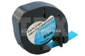 *Dymo SD91205 Black on Blue Plastic TWIN New Compatible  12mm x 4m